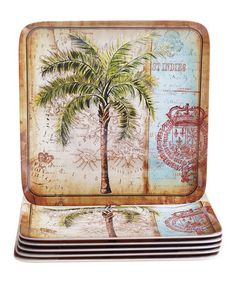 Loving this Antique Palms Square Dinner Plate - Set of Six on #zulily! #zulilyfinds