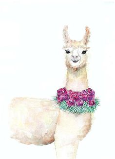 Llama print original watercolor artwork alpaca animal art.  Go ahead and hang it right up front and smile every day.