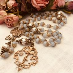 ROSARY GENUINE AQUAMARINE OUR LADY UNTIER OF KNOTS COMMUNION CONFIRMATION RCIA Sweet Love Quotes, Love Is Sweet, Praying The Rosary, Crucifix, Communion, Filigree, Vintage Jewelry, Bronze, Blessed Mother