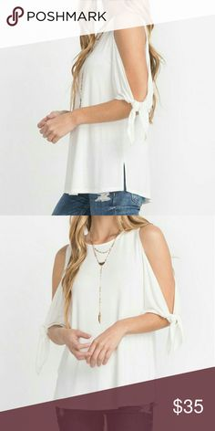 Bow Tie Sleeve Top Description: Bamboo Fabric Bow Tie Sleeve Cold Shoulder Top | Fabric:  96% Bamboo Tops Tees - Short Sleeve