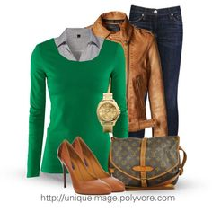 Dark blue or black jeans  Light blue button down  Green/teal sweater  Leather jacket  Leopard heels or brown boots