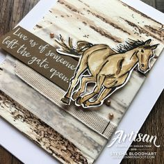 The 2019 Artisan Design Team offers ideas for Carry Over Product. Shop online with Stesha Bloodhart, Stampin' Hoot! Line Art Images, Horse Cards, Westerns, Stampin Up Catalog, Stamping Up Cards, Animal Cards, Sympathy Cards, Masculine Cards, Homemade Cards