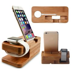 Bamboo Charging Dock Station Charger Stand Holder For Apple Watch & iPhone