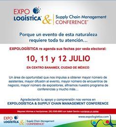 Expologística cambia de fecha por veda electoral, será del 10 al 12 de Julio. | http://www.expologistica.com/
