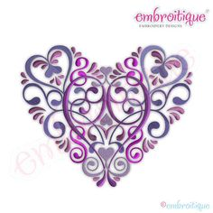 Vintage Floral Ornate Heart Embroidery Design  by Embroitique