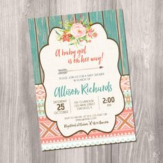 Tribal baby shower invitation, Aztec baby shower, Boho baby shower, gender neutral, arrows, rustic baby shower, Printable Invitation by StyleswithCharm on Etsy https://www.etsy.com/listing/471405653/tribal-baby-shower-invitation-aztec-baby