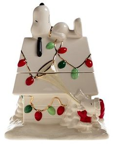 Snoopy's Christmas Earthenware Cookie Jar by Lenox