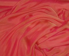 Iridescent Silk Chiffon Fabric  CORAL GOLD  1 Yard by silkfabric, $16.95