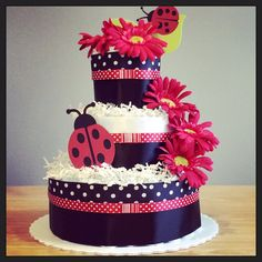 Lady bug three tier diaper cake with five by JennyKnickDesigns