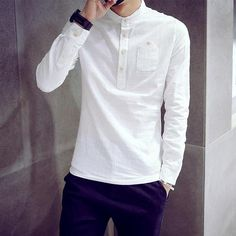 Cheap slim fit, Buy Quality designer linen shirts directly from China linen shirt Suppliers: Autumn 2016 New Men's Solid Linen Shirts Flax Long Sleeve Cotton Shirt Button Design Slim Fit Camicas Size Indian Men Fashion, Mens Fashion Wear, Casual Shirts For Men, Men Casual, Mens Kurta Designs, Mens Clothing Styles, Slim Fit, Designer, Men Dress