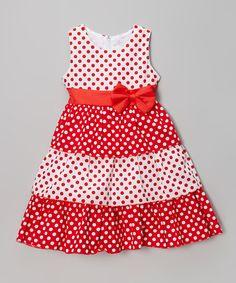 Loving this Red & White Polka Dot Bow Dress - Girls on Little Girl Outfits, Little Girl Dresses, Kids Outfits, Girls Dresses, Mom Dress, Dress With Bow, Dress For You, Baby Dress Patterns, Frocks For Girls