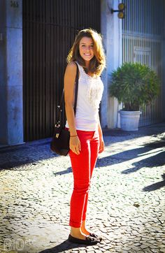 red jeans and white top