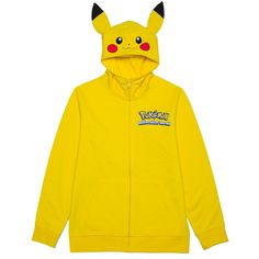 Boys 8-20 Pokemon Pikachu Hoodie, Size: Medium, Gold