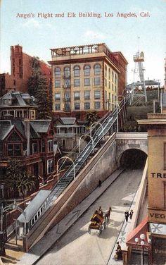 LOS ANGELES CA Angel's Flight & Elk Building California Vintage Postcard c1910s