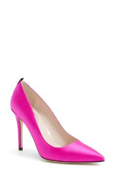 Stunning pink satin SJP pumps.