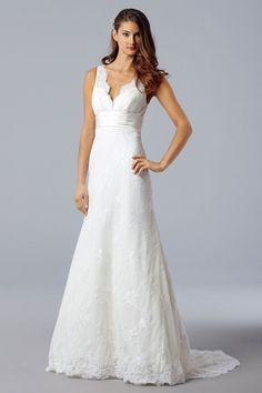 A-line sleeveless lace floor-length bridal gown