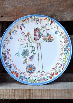 Ceramic Bird Bath, Ceramic Birds, Ceramic Plates, Decorative Plates, Painted Plates, Hand Painted Ceramics, Pottery Painting, Ceramic Painting, Art Deco Paintings