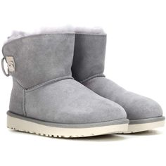 UGG Australia Adoria Tehuano Fur-Lined Suede Boots ($225) ❤ liked on Polyvore featuring shoes, boots, ankle booties, ankle shoes, grey, ugg booties, grey ankle booties, gray suede ankle booties, suede booties and grey booties