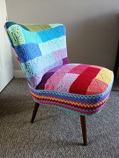 Crochet granny square chair cover  http://hookingcrazy.blogspot.co.uk/