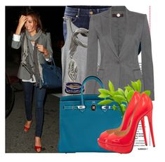 """Get the look: Eva Longoria in red peep toe heels"" by katijaa ❤ liked on Polyvore featuring Jennifer Lopez, H&M, Monki, Fiona Paxton, STELLA McCARTNEY, Hermès and Christian Louboutin"