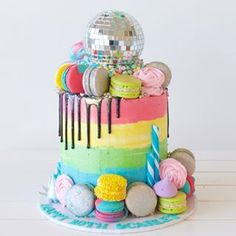 Dance Party Kids, Dance Party Birthday, Magic Birthday, 40th Birthday Parties, Birthday Ideas, Disco Cake, Disco Party, Dance Cakes, 7th Birthday Cakes