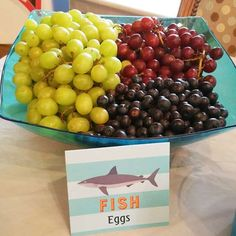 as fish eggs at a shark birthday party! See more party ideas at !Grapes as fish eggs at a shark birthday party! See more party ideas at ! Mermaid Theme Birthday, Little Mermaid Birthday, Rosalie, Boy Birthday Parties, 4th Birthday, Birthday Ideas, Circus Birthday, Circus Party, Birthday Party Snacks