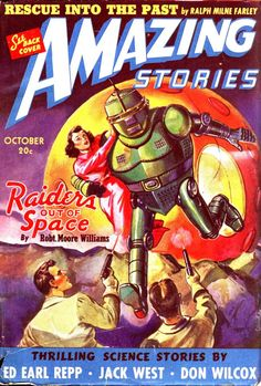 Amazing Stories, October 1940, cover by Leo Morey