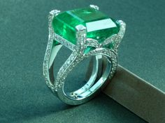 Emerald ring - Colombian cut emerald engagement ring set on 14K white gold May birthstone artisan jewelry
