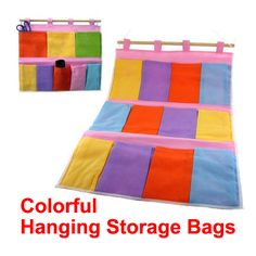 Home Organization Gadget Holder Wall Cloth Colorful Hanging Storage Bags Case #Affiliate