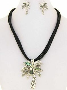 Chunky Palm Tree Charm Silver Chain Necklace Earring Set Fashion Costume Jewelry   eBay