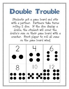 This game can be played in groups of 2  students.  It works well as a partner game.Students in a group take turns rolling 2 dice. If the dice lan...