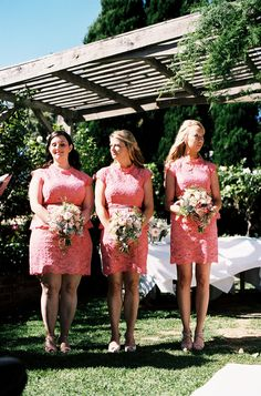 Pink lace. Witchery. Photography: Stewart Leishman Photography - stewartleishman.com  Read More: http://www.stylemepretty.com/australia-weddings/victoria-au/2014/01/28/morning-star-estate-wedding/