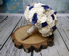 Bridal ivory cream grey dark blue rustic wedding BOUQUET, Burlap cotton lace pearls, woodland wedding, sola flowers, navy blue flowers