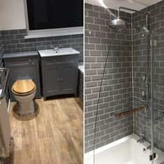 Our bathroom restoration is complete. Love the way the Victoria Plum Camberley Grey cabinet furniture matches the Grey mini-metro tiles but contrasts with the wood floor. Bathroom Restoration, Grey Subway Tiles, House Bathroom, Grey Furniture, Bathroom Furniture, Grey Bathroom Tiles, Small Bathroom, Modern Bathroom, Grey Bathrooms