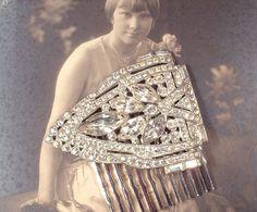 Authentic Art Deco Great Gatsby Rhinestone Bridal Hair Comb  by AmoreTreasure