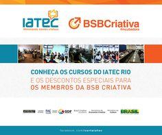 Arte de anúncio da parceria do Iatec com a BSB Criativa.