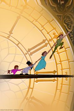 Peter Pan off to neverland! Walt Disney, Disney Pixar, Disney And Dreamworks, Disney Animation, Disney Love, Disney Magic, Disney Art, Disney Characters, Disney Girls