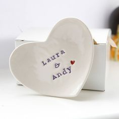 personalised wedding gift ring dish by badgers badgers | notonthehighstreet.com