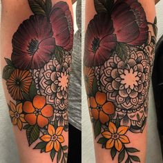 Floral mandala tattoo. Fall leaf color scheme. Artist: Nikki Snyder at Folk City Tattoo in Suffolk, Virginia.