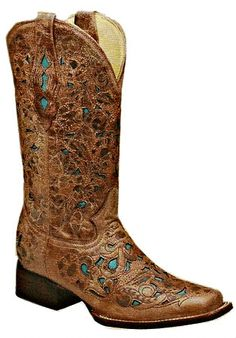 Rivertrail Mercantile - Corral Crackle Cognac-Turquoise Laser Square Toe A2409, $260.00 (http://www.rivertrailmercantile.com/corral-crackle-cognac-turquoise-laser-square-toe-a2409/)
