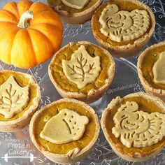 Mini Protein Pumpkin Pies - crust (almond meal, vanilla pea protein powder, egg whites, coconut oil), canned pumpkin, eggs, vanilla whey protein powder, water, pumpkin pie spice, sea salt, egg yolk (for crust glaze, might omit)