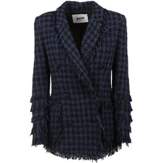 MSGM Blazers ($740) ❤ liked on Polyvore featuring outerwear, jackets, blazers, blue, hounds tooth jacket, blue blazer, tweed jacket, long sleeve blazer and wool tweed blazer
