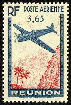 """Réunion 1938 Scott C2 3.65fr slate blue & carmine """"Airplane & Landscape"""""""