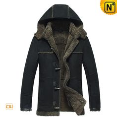 Mens Hooded Sheepskin Shearling Jacket Black CW877138 $1645.89 - www.cwmalls.com