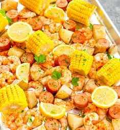 Foil Sheet Pan Oven Shrimp Boil This easy shrimp boil is bakedin the oven using one sheet pan and aluminum foil. Its an easy meal with minimal clean-up.) Read the rest of Foil Sheet Pan Oven Shrimp Boil Kirbie for Kirbie's Cravings Shrimp Boil In Oven, Baked Shrimp, Seafood Boil, How To Cook Shrimp, Crab Boil, Shrimp Meals, Seafood Party, Fish Recipes, Seafood Recipes
