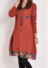 Pocket Decorated Long Sleeve Straight Dress on sale only US$23.49 now, buy cheap Pocket Decorated Long Sleeve Straight Dress at liligal.com