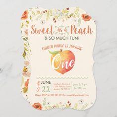 1st Birthday Girls, First Birthday Parties, First Birthdays, Birthday Gifts, Birthday Ideas, Custom Invitations, Invite, Peach Party