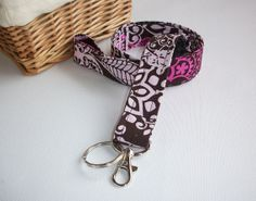Lanyard  ID Badge Holder  Frill Berry Cocoa  Lobster by Laa766, $7.50