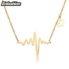 Fashion heartbeat necklace women pendant necklace  rose gold color chain collar necklace stainless steel necklace jewelry