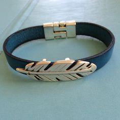 Blue Leather and Silver Leaf Bracelet by joytoyou41 on Etsy